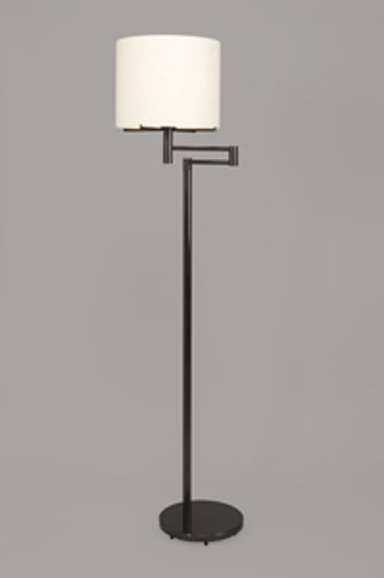 Picture of GUNMETAL SWING ARM FLOOR LAMP WITH DRUM SHADE