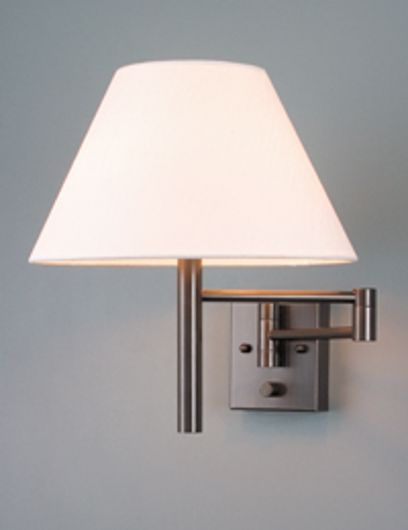 Picture of RUSTIC BRONZE SWING ARM WALL LAMP WITH SILK LINEN SHADE