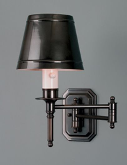 Picture of  LACQUERED GUNMETAL ISABELLE SWING ARM WALL LAMP WITH M1 SHADE