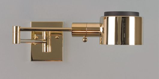 Picture of DIAMONDCLAD POLISHED BRASS SWING ARM LAMP WITH G SHADE.