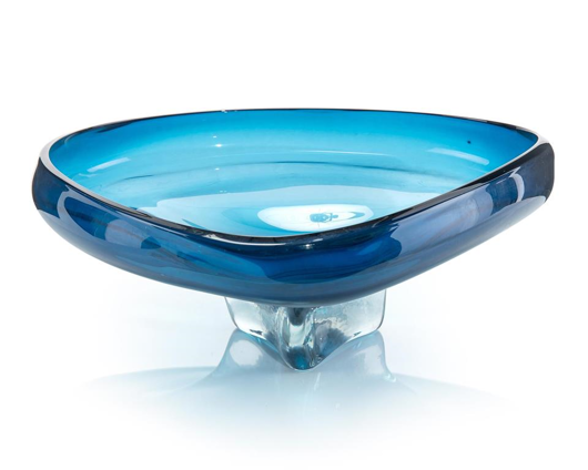 Picture of BLUE SCULPTURAL GLASS BOWL